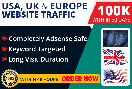 100,000 USA, UK,  Europe keyword target website traffic
