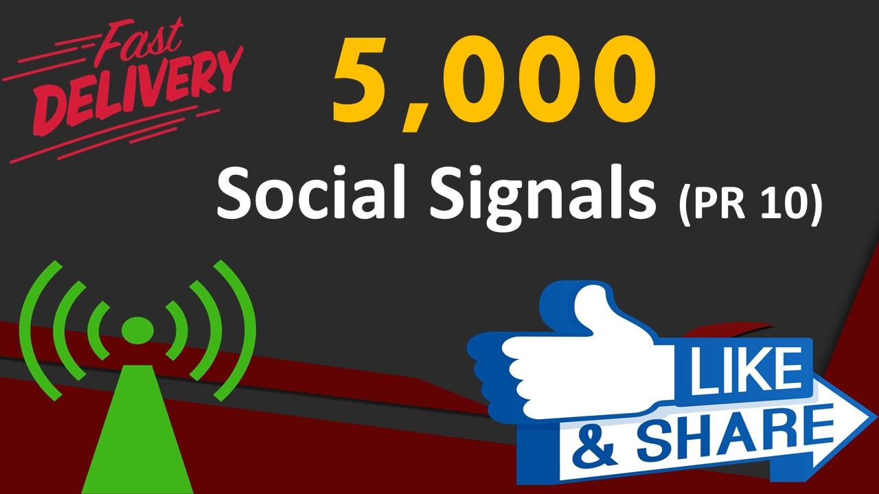 Top Platform 5,000 Real Social Signals PR10 Web Share Bookmarks