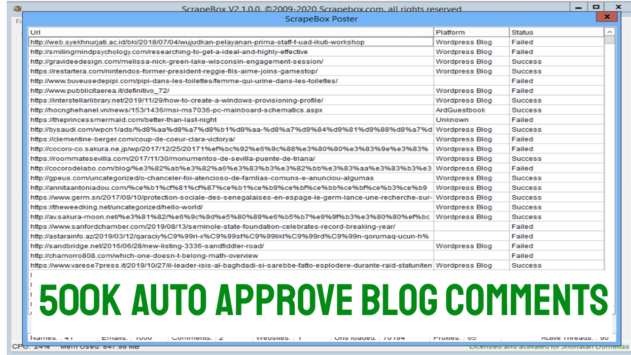 500000 Scrapebox Blast Live SEO blog Comment Backlinks