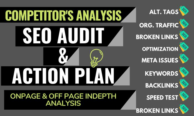 I will provide detailed SEO report, competitor audit and action plan