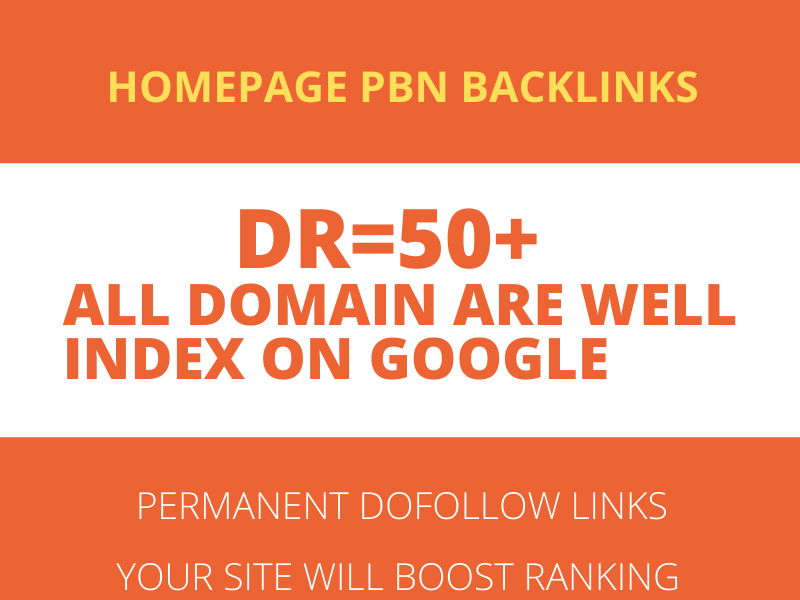 HIGH Quality DR 50 Plus Homepage PBN Backlinks Manually Created DR 50 Plus PBN BACKLINKS from High
