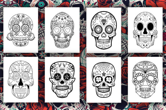 50 pages sugar skull coloring pages for kids
