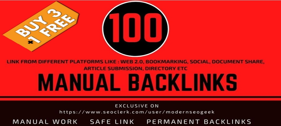 I will provide 100 High Quality Manual Backlink seo Link building