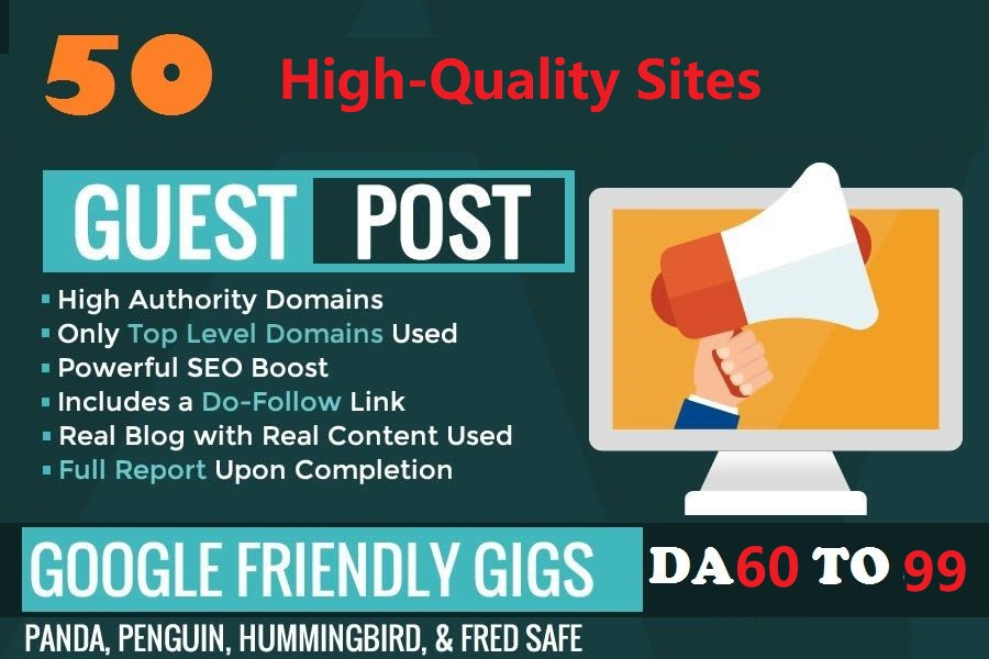 Write Publish 50 X High Authority Guest Post DA 93-45 Not PBN, From Real Sites