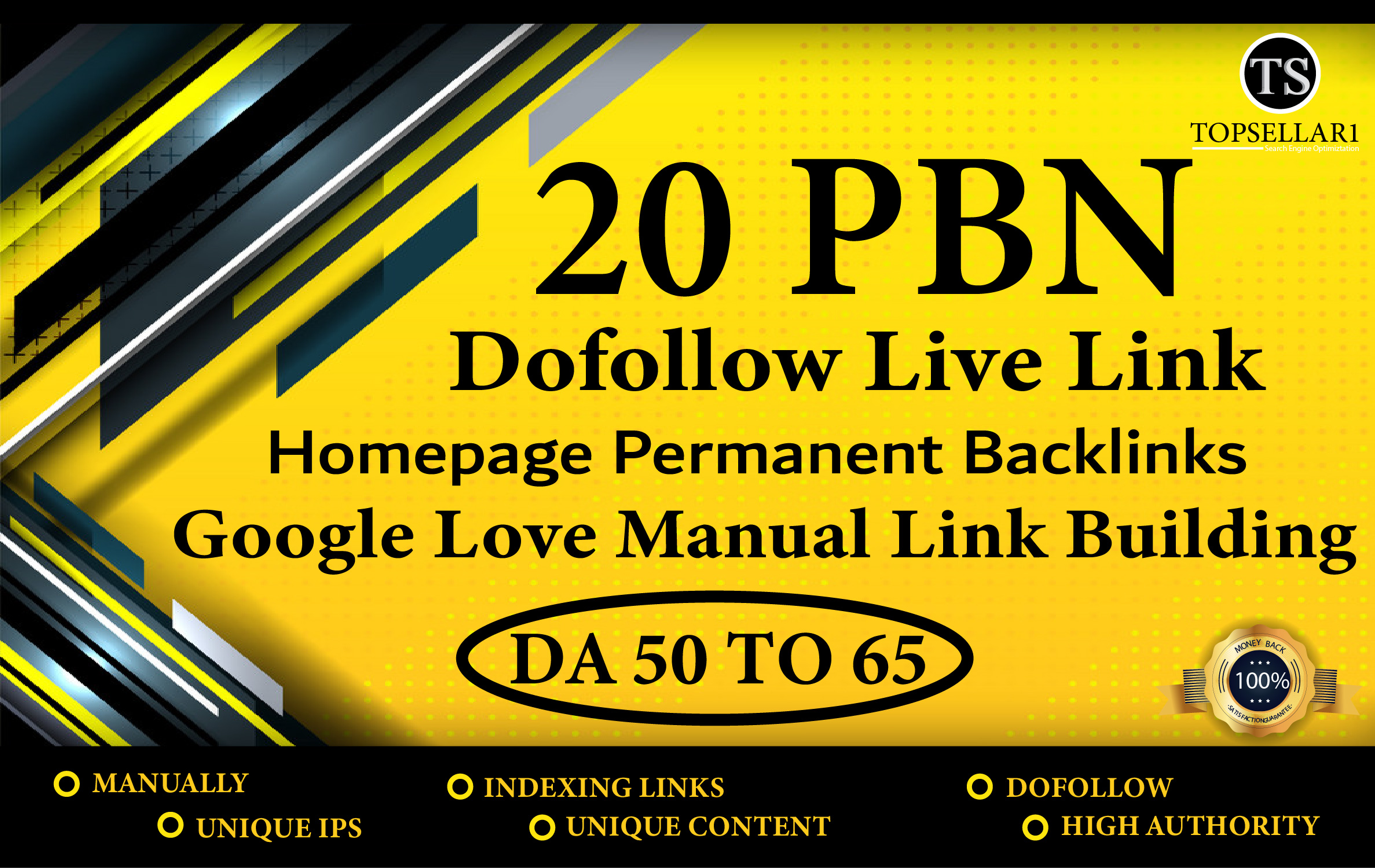 build 20 unique domains PBN DA 60+ & DR 50+ Permanent Dofollow Hompage Backlinks