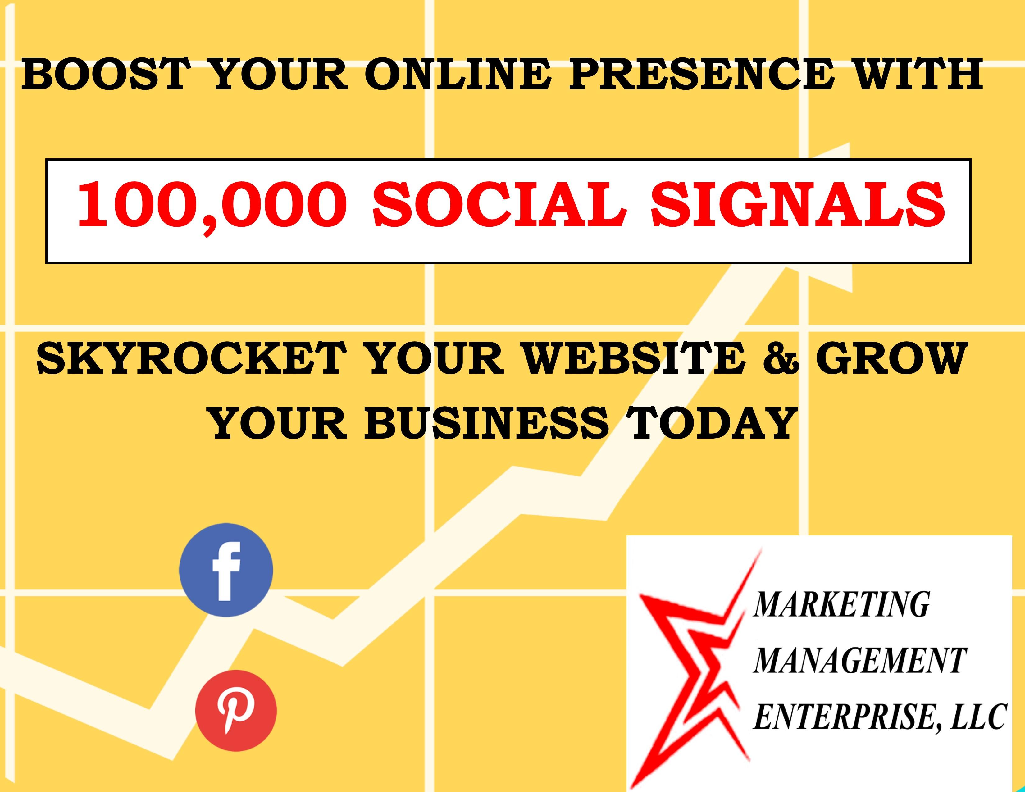 100,000 Social Signals BOOST YOUR WEBSITE