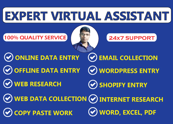 I will be your virtual assistant expert for data entry,  web research,  copy past work