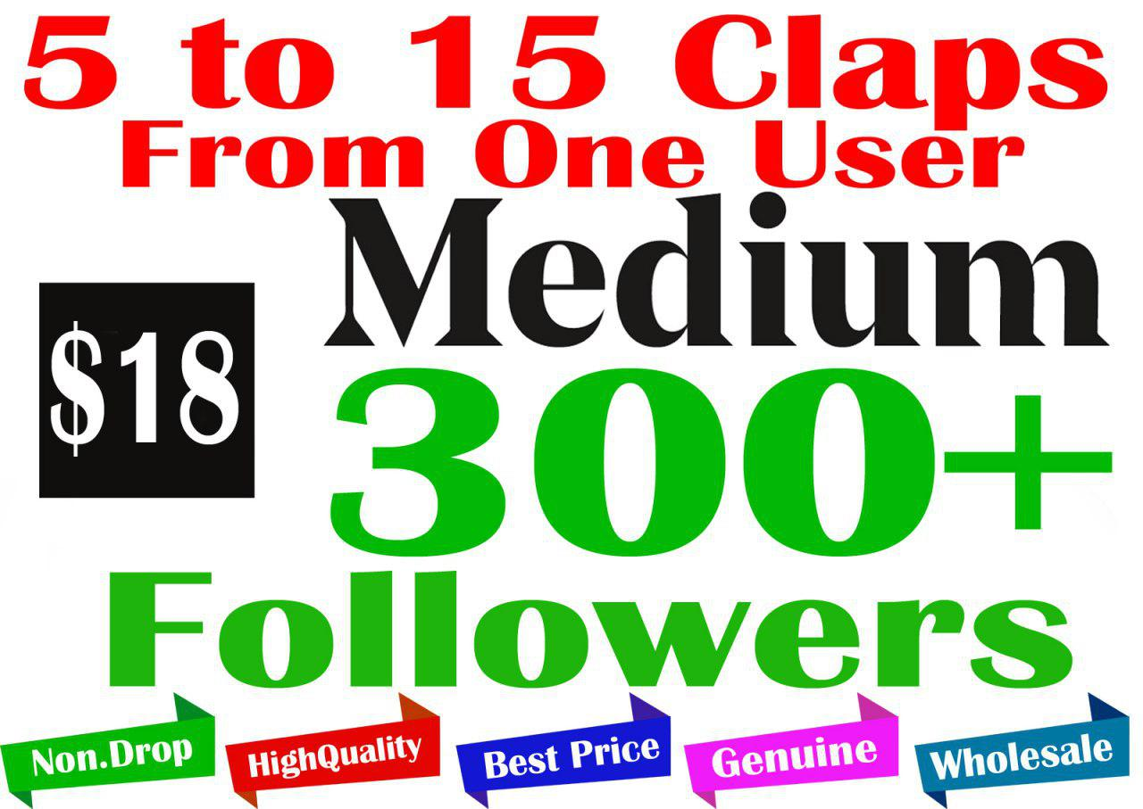 3000+ Medium Claps and 300+ Followers - 5 to 15 Claps From Each One User