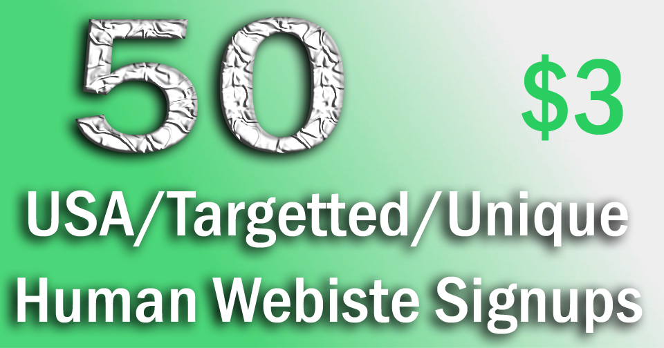 Buy 50 Verified Sign Ups From USA