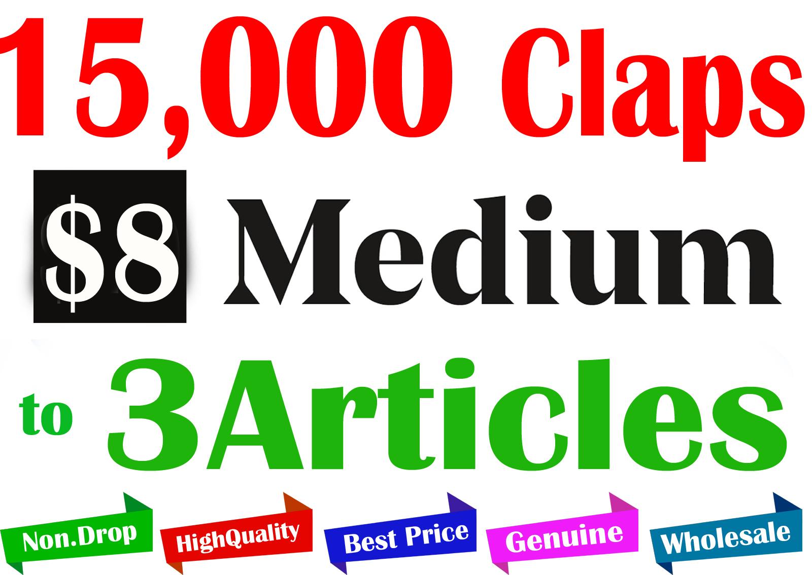 Buy 15,000+ Medium Claps to 3 Articles