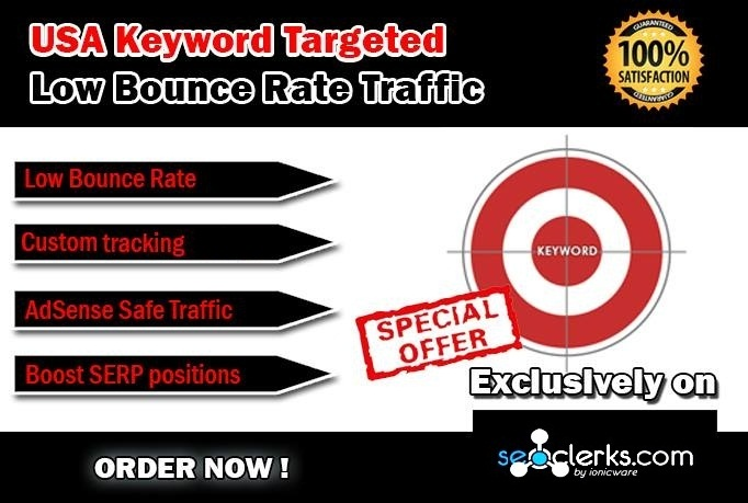 Drive 50000 USA Keyword Targeted Low Bounce Rate Traffic