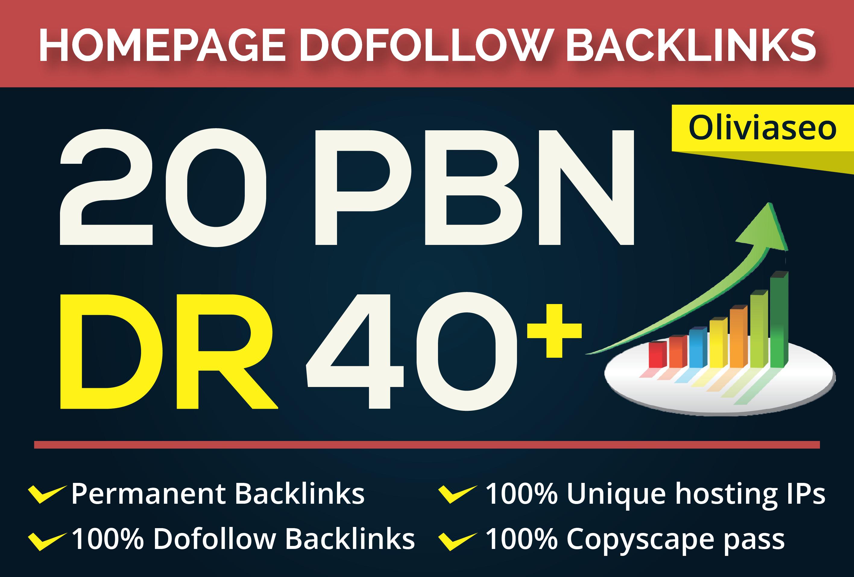 Build 20 PBN DR 40 Plus Permanent Homepage Backlinks