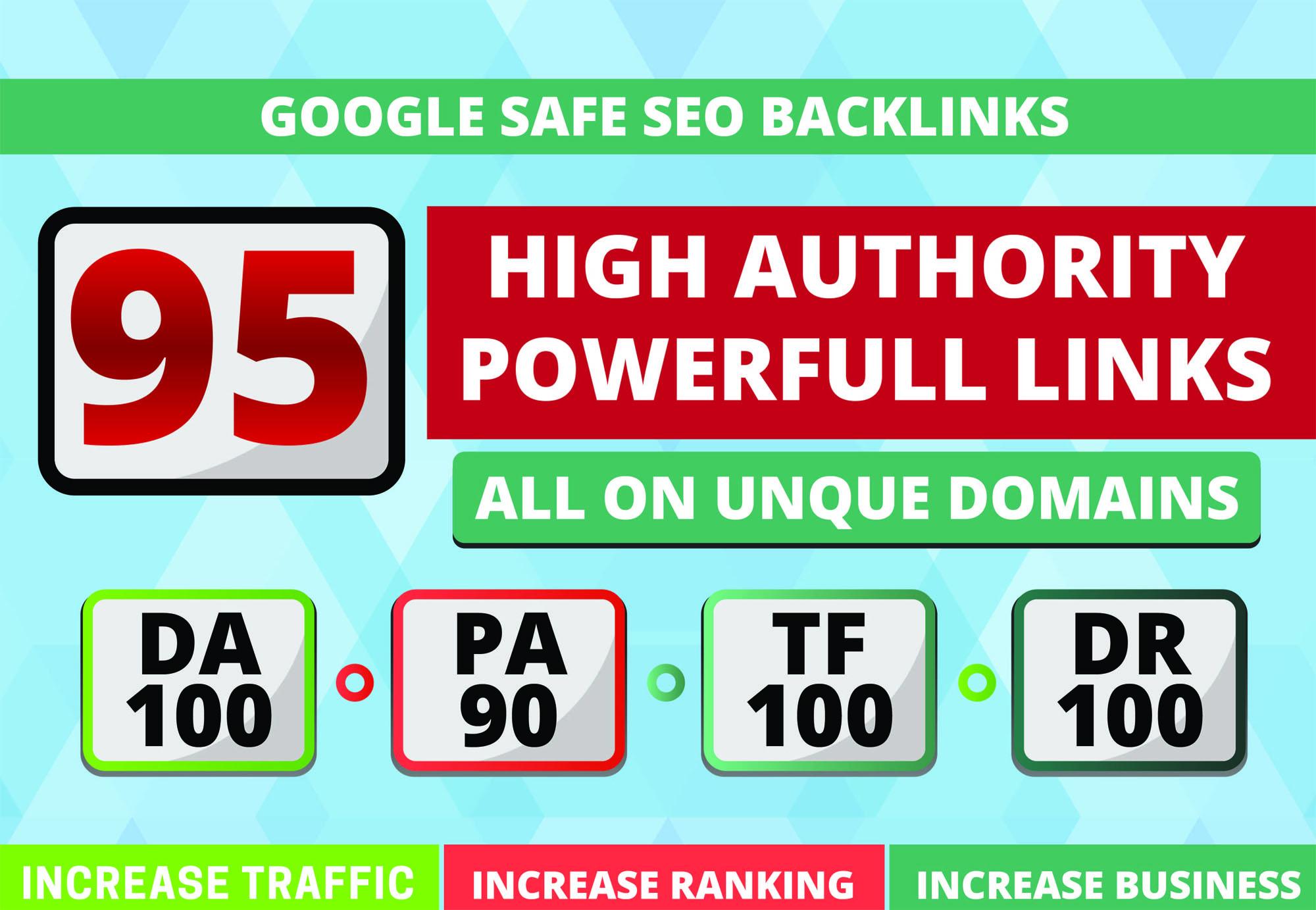 I'll Build 95 Unique Domain SEO Backlinks Low OBL Tf100 Da100 Sites
