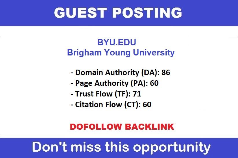 Dofollow Guest Post On Brigham Young University - Byu. edu DA90,  DR87