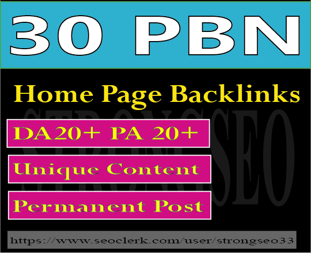 do 30 pbn high quality home page permanent backlinks