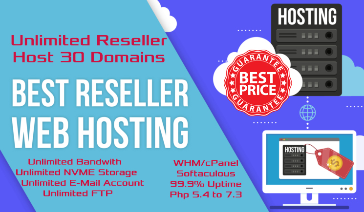 Unlimited NVME Reseller Website Hosting For 30 Websites WHM cPanel Softaculous