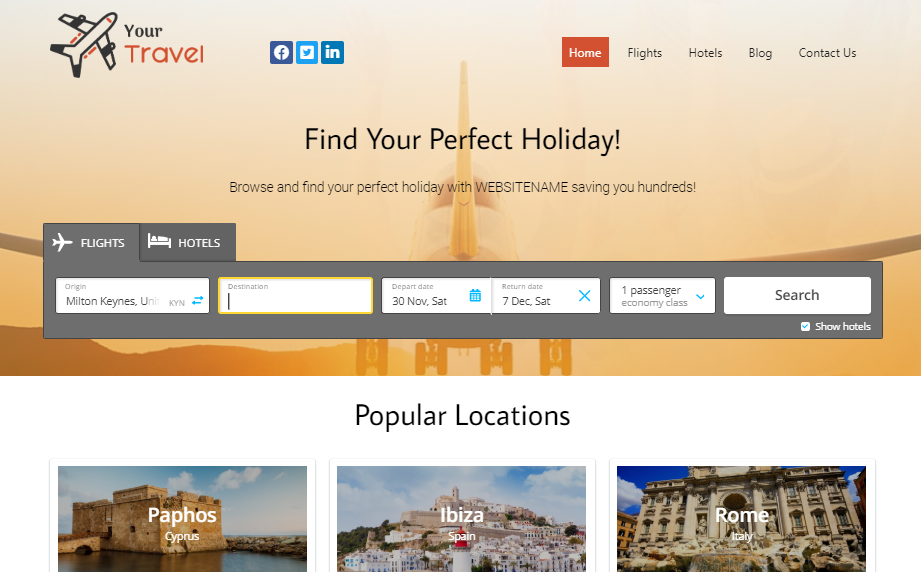 Start Your Own Travel Comparison Website - Installation,  Domain and First Month of Hosting Included