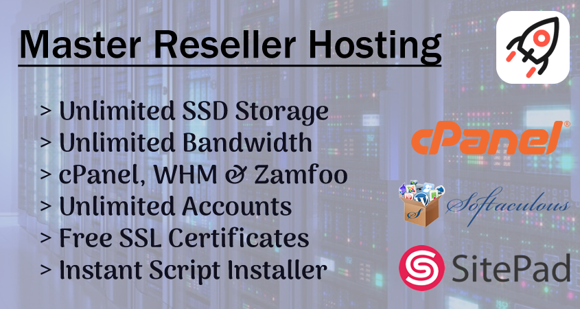 Master Reseller Hosting,  Unlimited WHM's & cPanel,  SSD Storage & Bandwidth + So Much More
