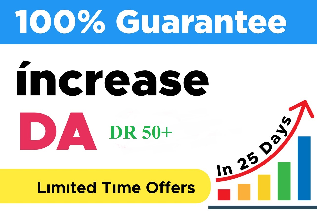 will increase domain rating DR domain Authority MOZ DA 60+ Dofollow Backlinks