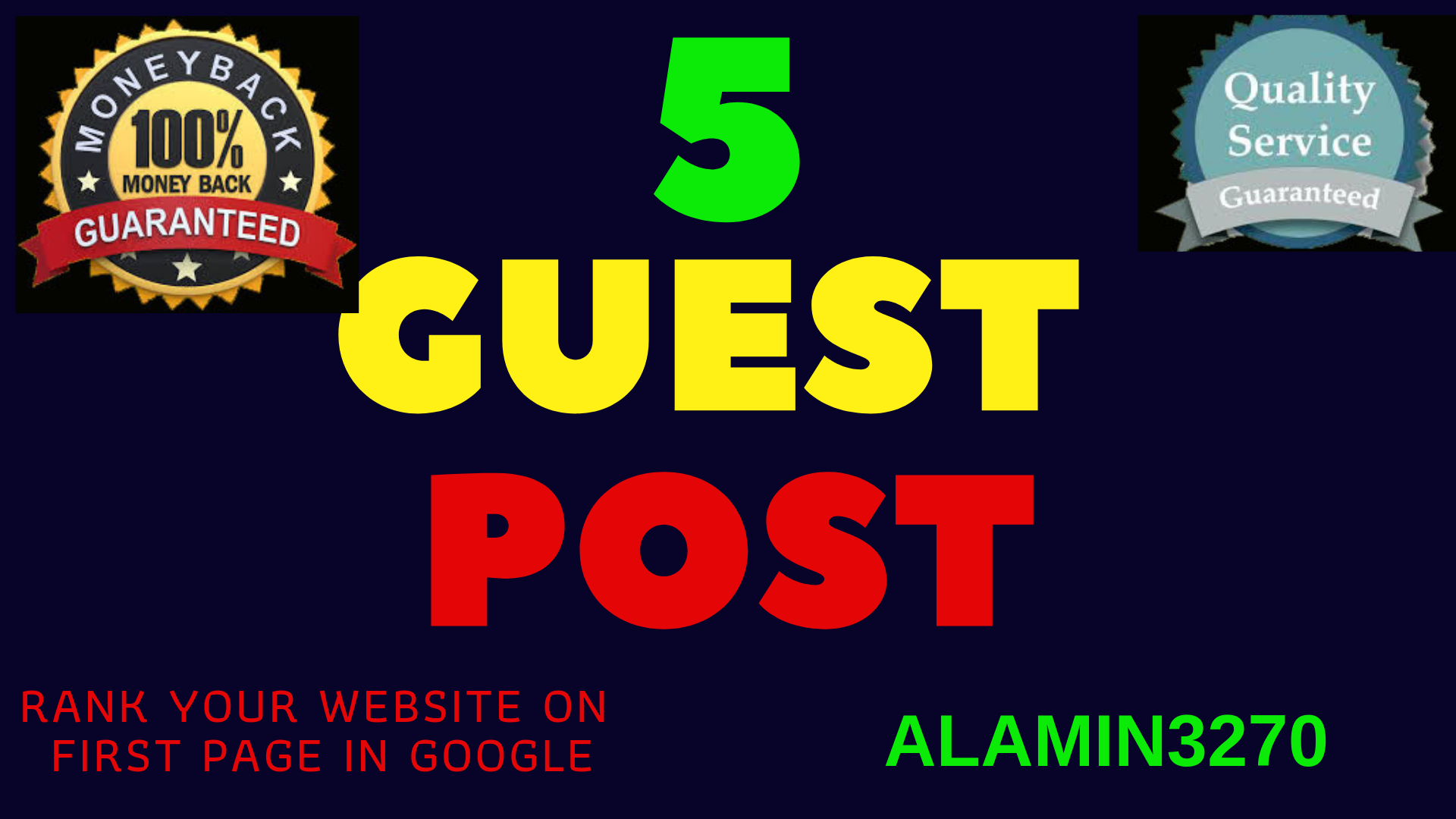 Write and submit 5 guest post in high quality website