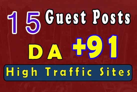 15 guest posts 91+ DA - Average DA +80 - high traffic sites guest posting service
