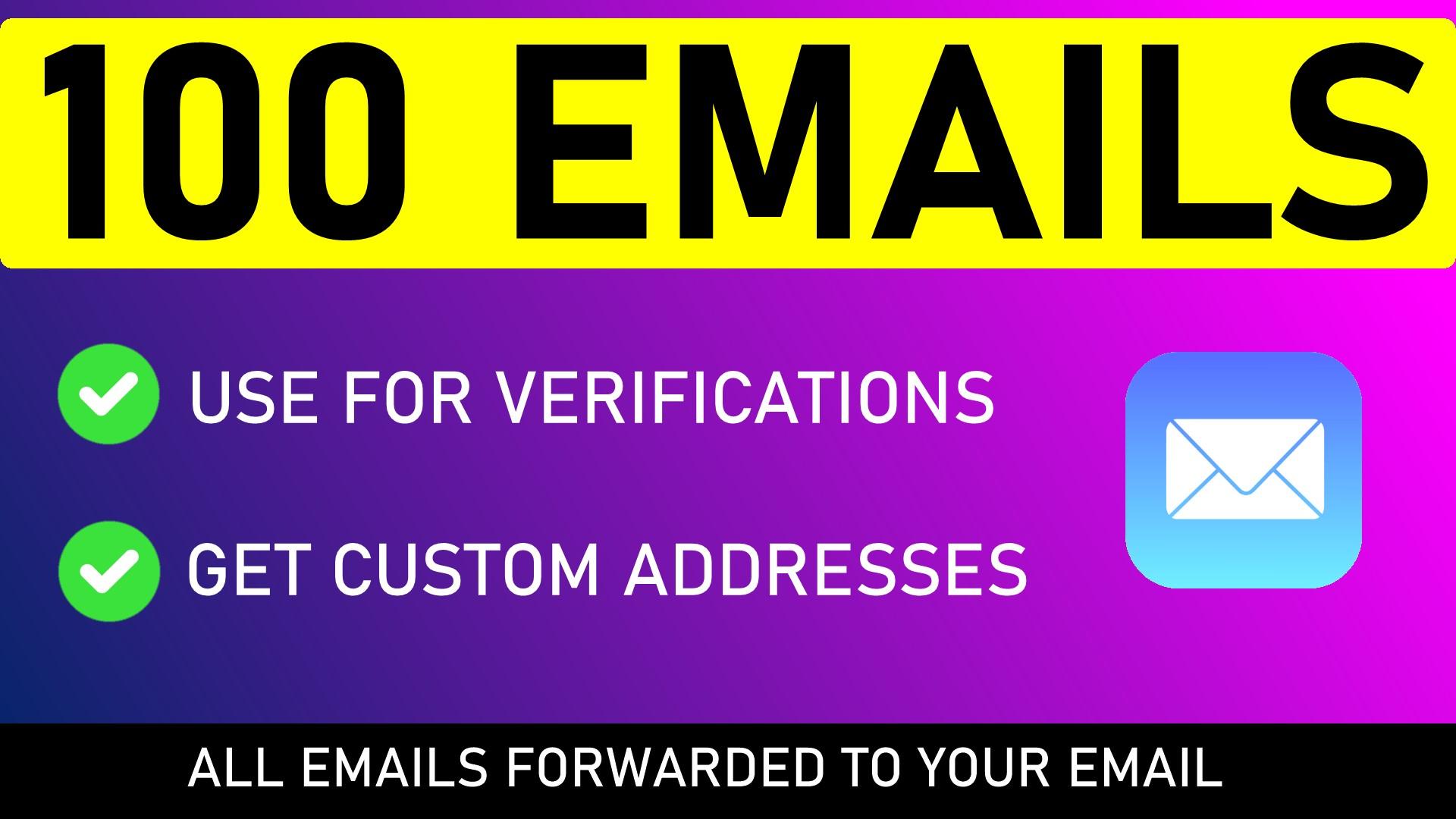 100 Unique EMAIL Addresses for VERIFICATION CODES,  Sign Ups,  Free Trials,  etc.