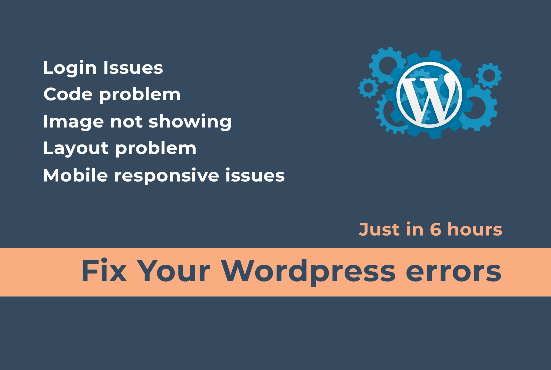 I will fix wordpress errors in 6 hrs