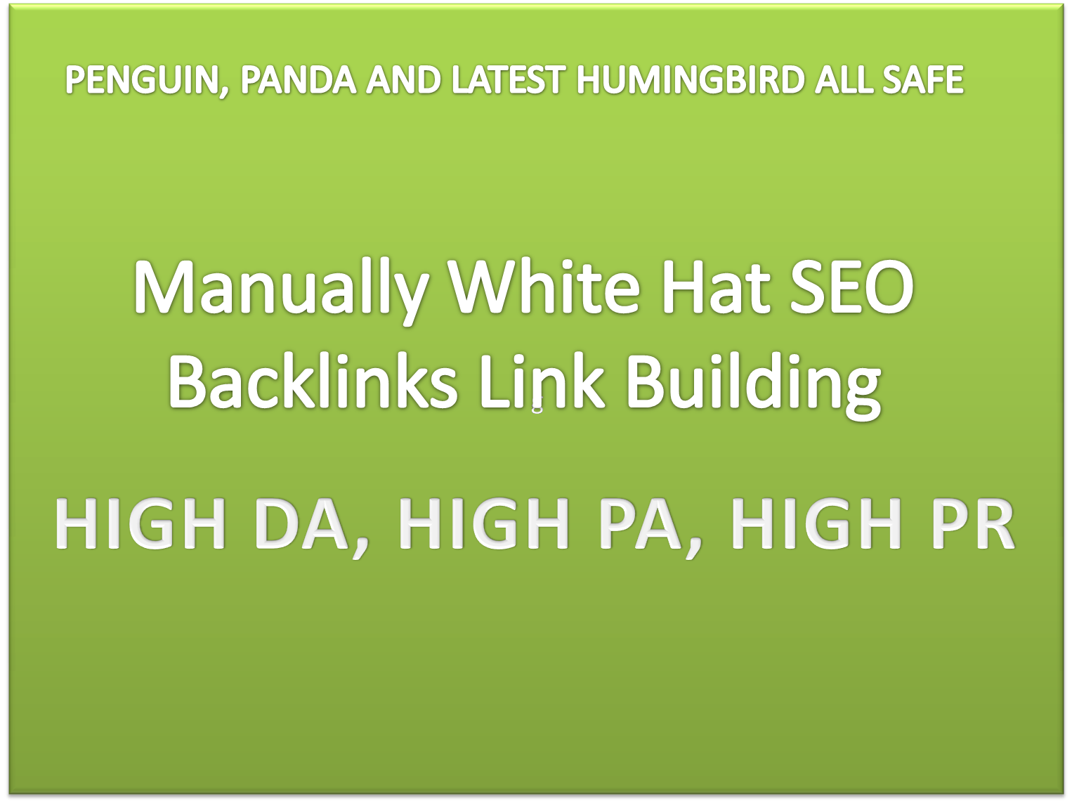 I will build High quality White hat SEO backlinks,  manual link building