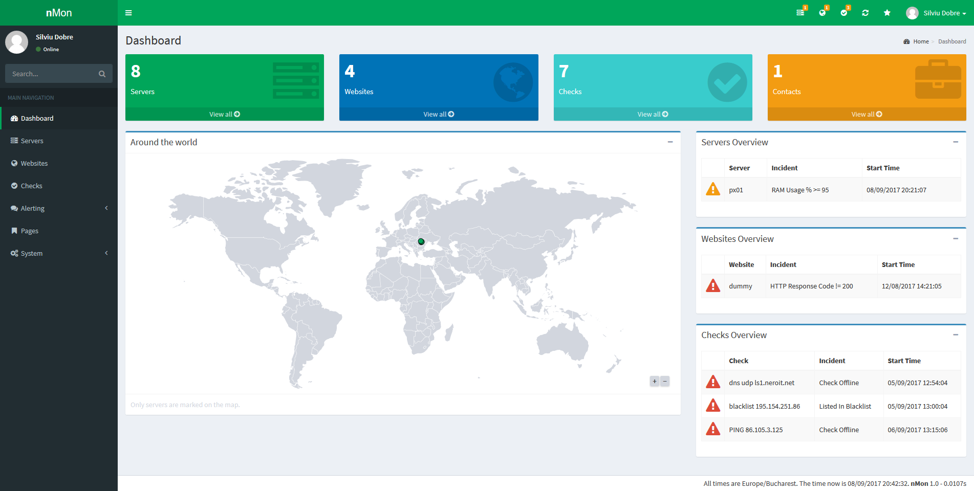 Full Website,  Service & Server Monitoring platform with notifications