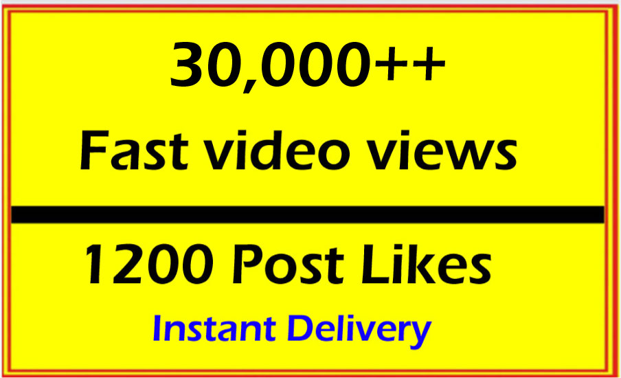 Very Fast 30000 Video Views or 1000 Likes or 12 Comments in 1 Hour