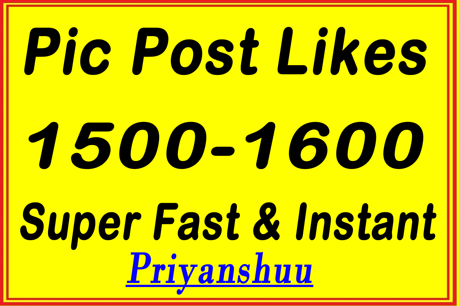 1500+ pic post promotion service within some hours