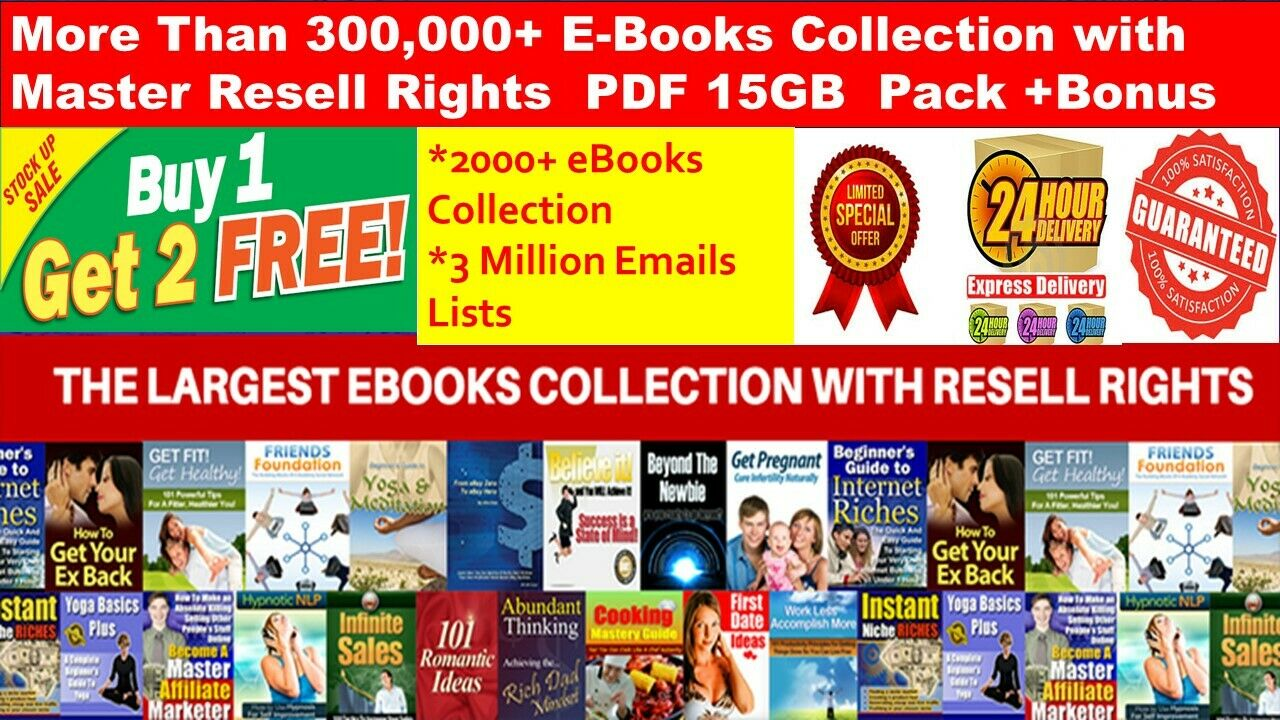 300,000+ E Books PLR Collection with MRR PDF+2000 Ebooks +3 Million Emails lists INSTANT DOWNLOAD