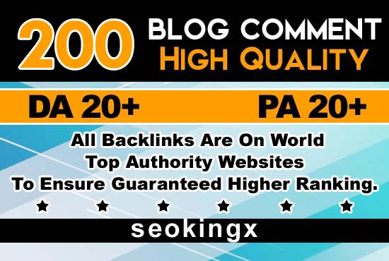 Provide 200 High Da Blog Comment Backlinks Low OBL