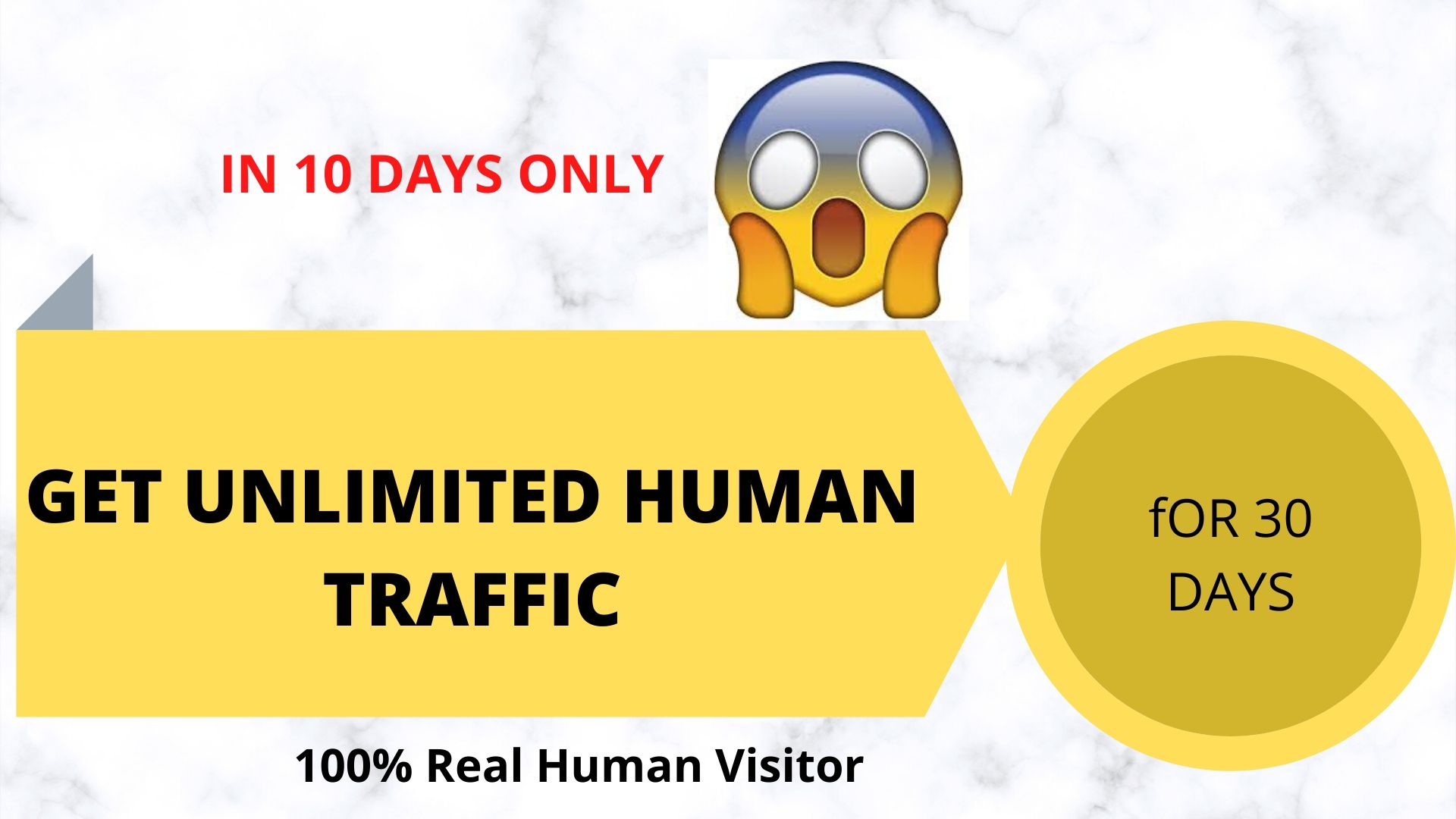 GET UNLIMITED HUMAN TRAFFIC BY Google and all the other social media to your website for 30 days