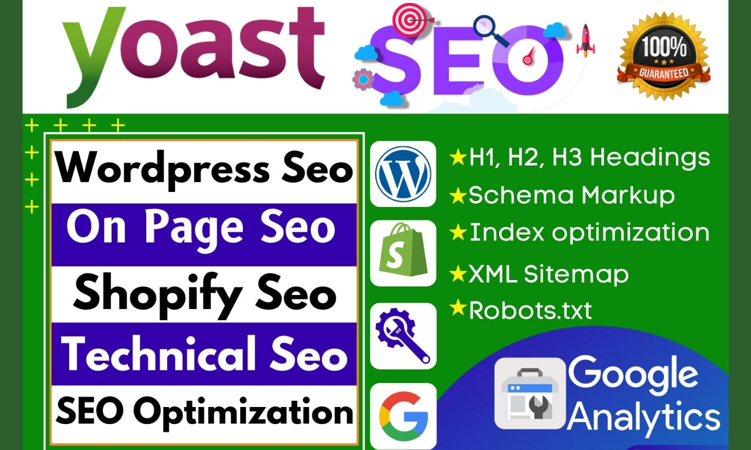 I will do wordpress yoast on page SEO and technical optimization for google 1st ranking