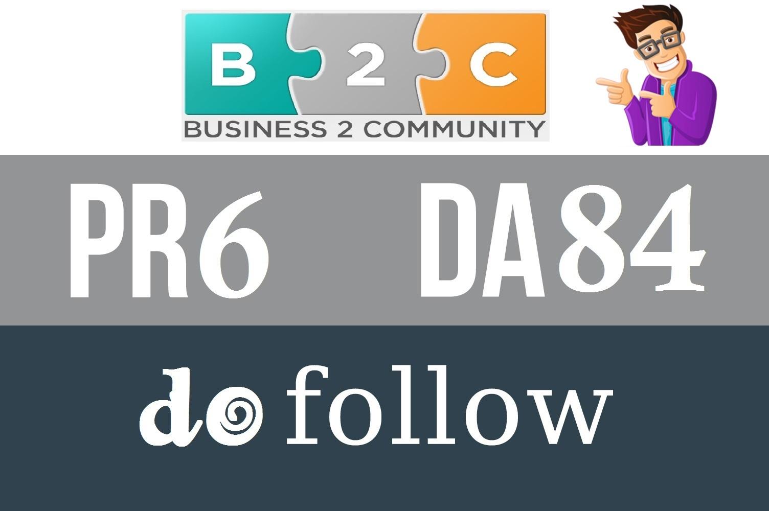 publish a guest post on business2community. com DA 80...