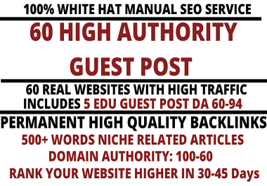 I will write and publish 60 high quality guest post includes 5 EDU Posts with high DA 99-60 websites
