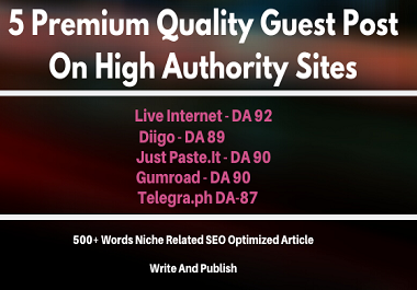 Special Offer Write and Publish 5 Premium Quality Guest Post On High DA 87+ Unique Platforms