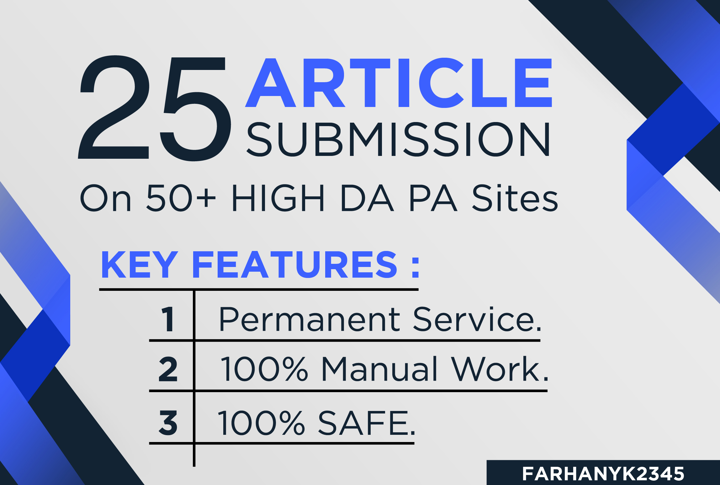 provide 25 unique article submission with da50 plus unique domain backlinks