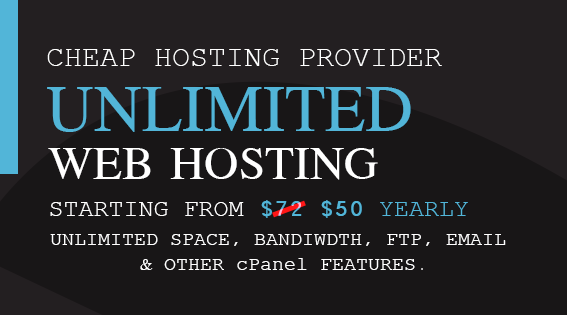 Unlimited Hosting,  Cheap Website hosting,  Shared hosting for YEARLY