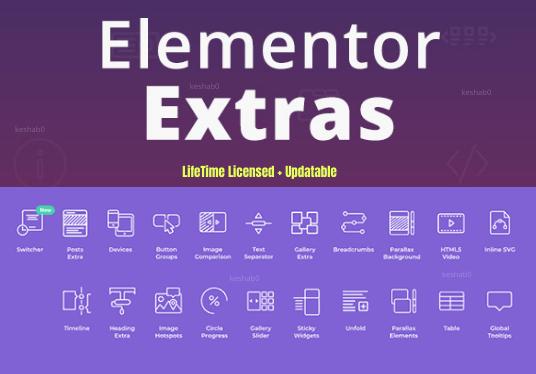 Install lifetime updatable elementor extra for elementor Plugin
