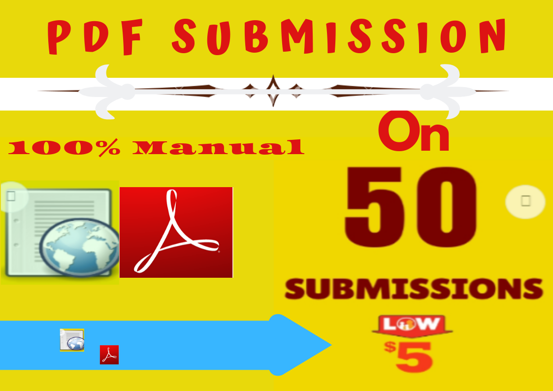 Manually PDF Submission or Marketing on 50 High DA Popular Sites