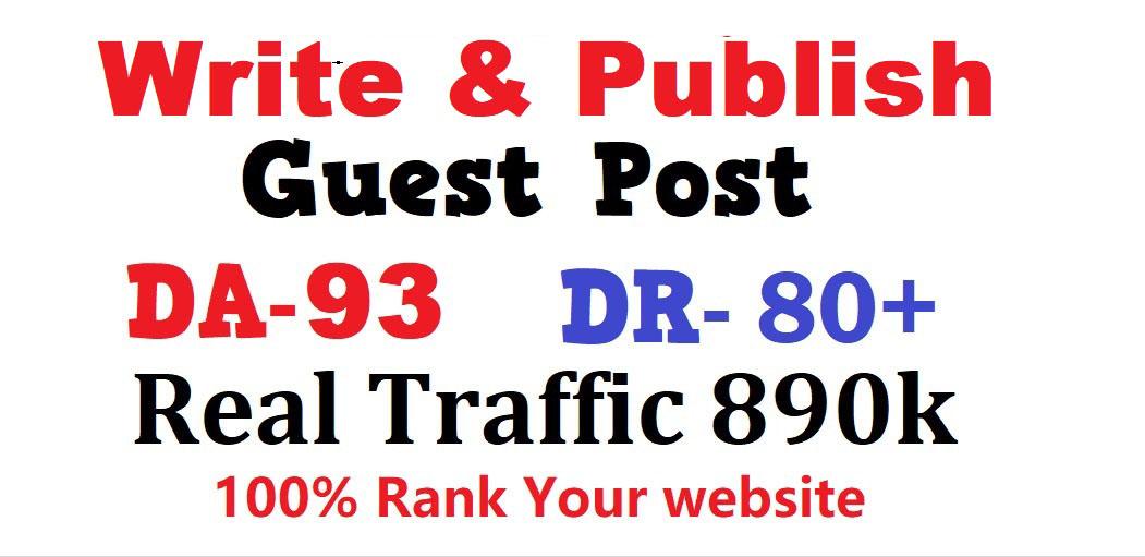 Write & Publish high quality guest post on DA-93 real blog traffic 890k