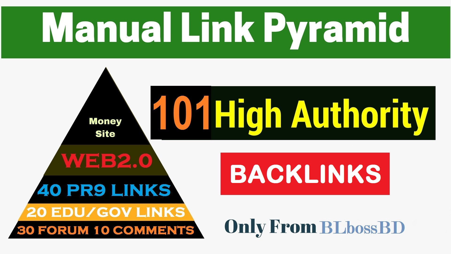 Strong Link Pyramid to Boost Top Page by exclusive backlinks From High DA PA Unique Domains