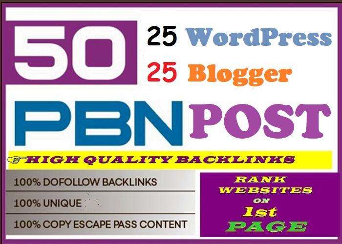 50 PBN POSTs Blogger and WordPress 90 High DA PA Site permanent Post