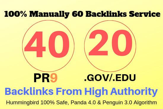 Manually do 40 PR9 + 20 EDU/GOV 80+ DA Safe SEO Top PR Trust Authority Backlinks