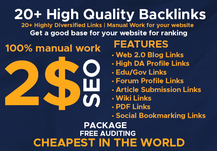 20+ High Quality Back Links Complete Manual Work For Website
