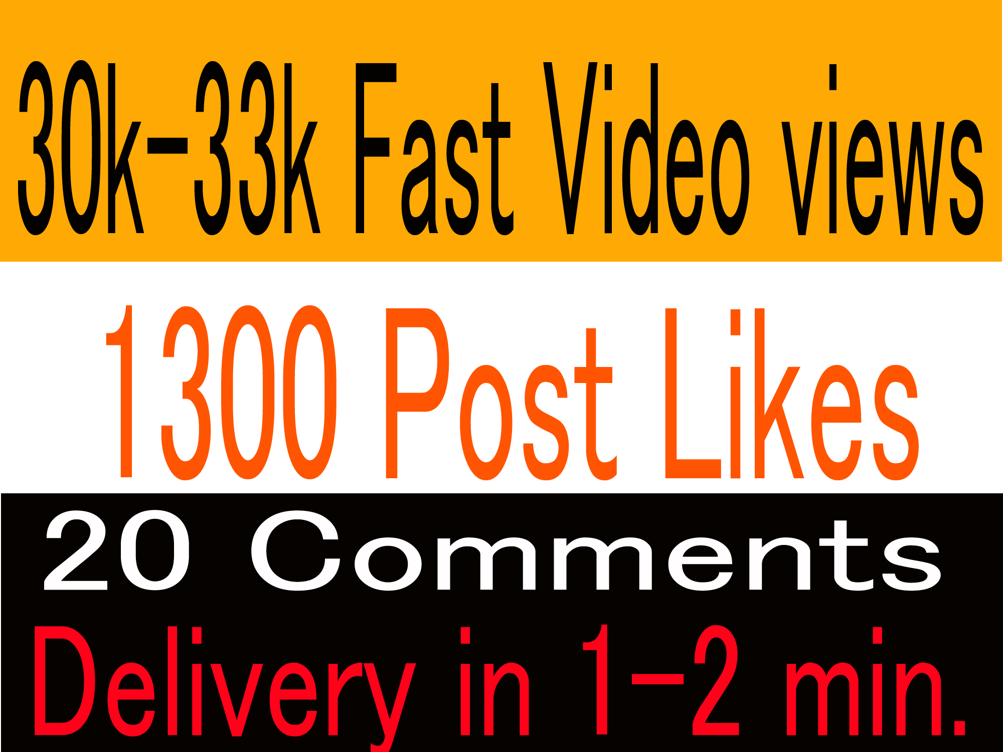 Lifetime Guaranteed 30k-33k Video Views or 1000-1300 likes or 10 comments Promotion in 1 min
