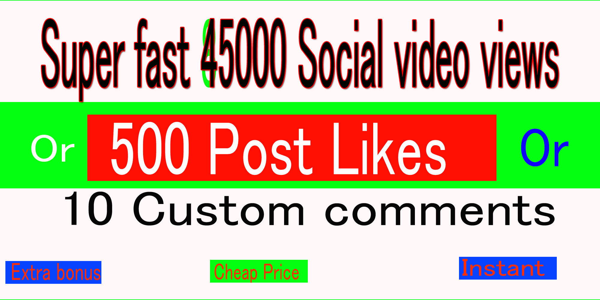 Instant social media music 45k video views or 500+Likes or 10 comments promotion marketing