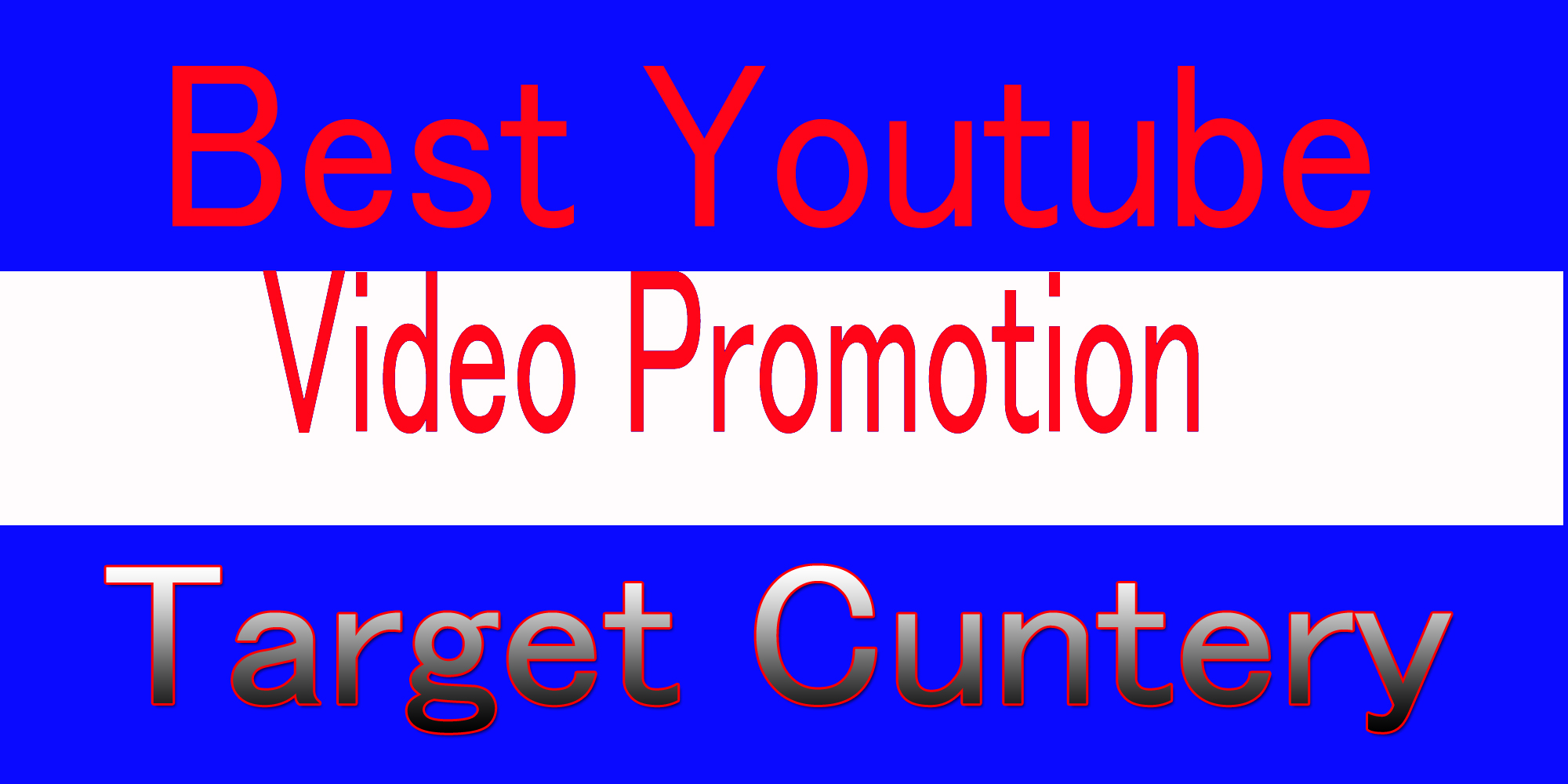 Target country USA,  CANADA, Italy, australia YouTube video promotion all